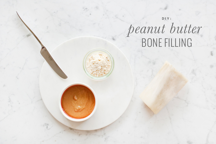 Make your own homemade, healthy peanut butter dog bone filling with our simple two ingredient recipe! Includes full tutorial.