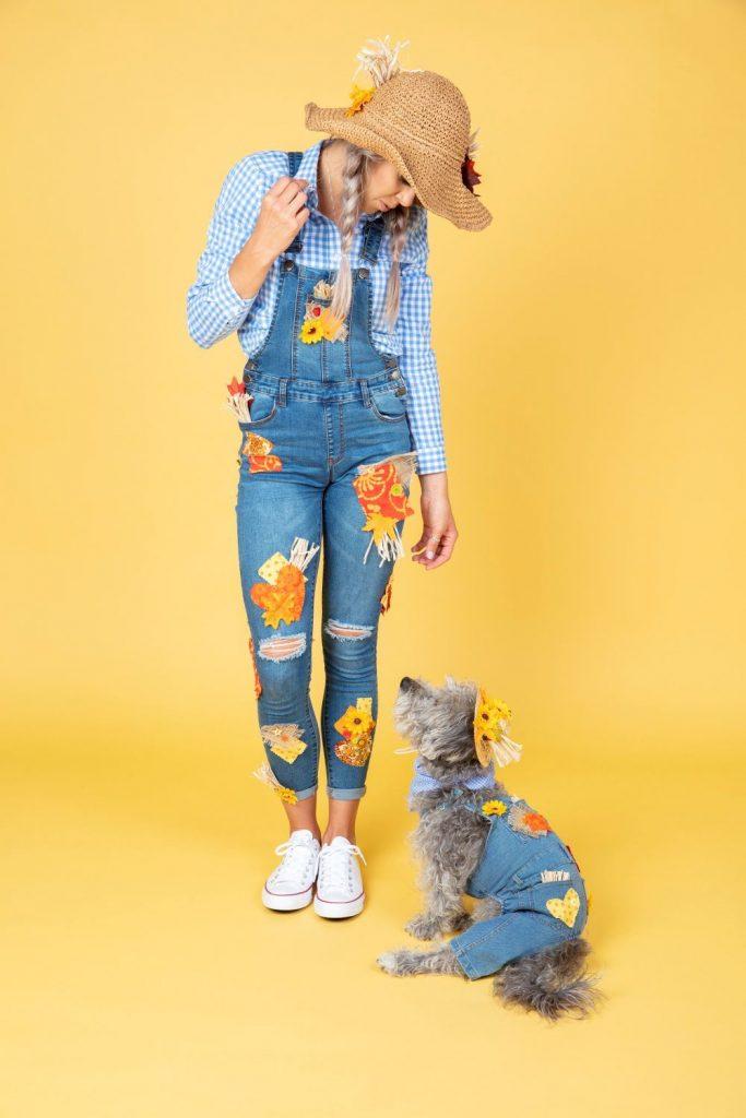 DIY Dog Halloween Costume - Matching Dog & Owner DIY Scarecrow Costumes
