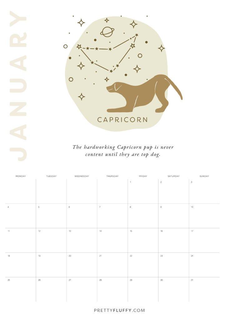 Dog Zodiac Free Printable Calendar for 2021_Capricorn