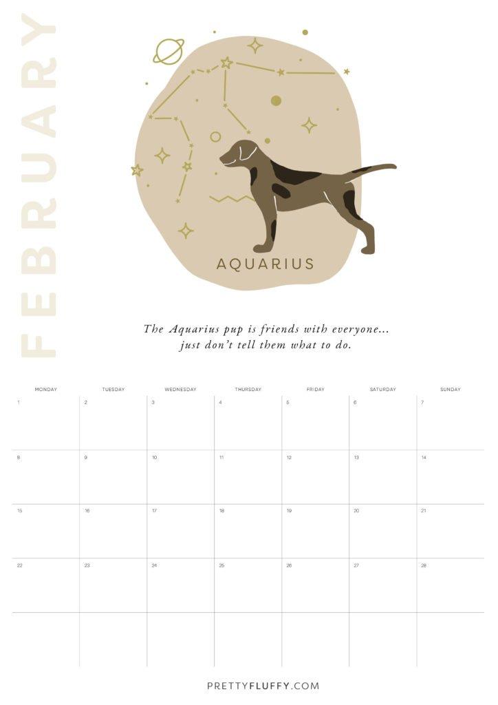 Dog Zodiac Free Printable Calendar for 2021_Aquarius