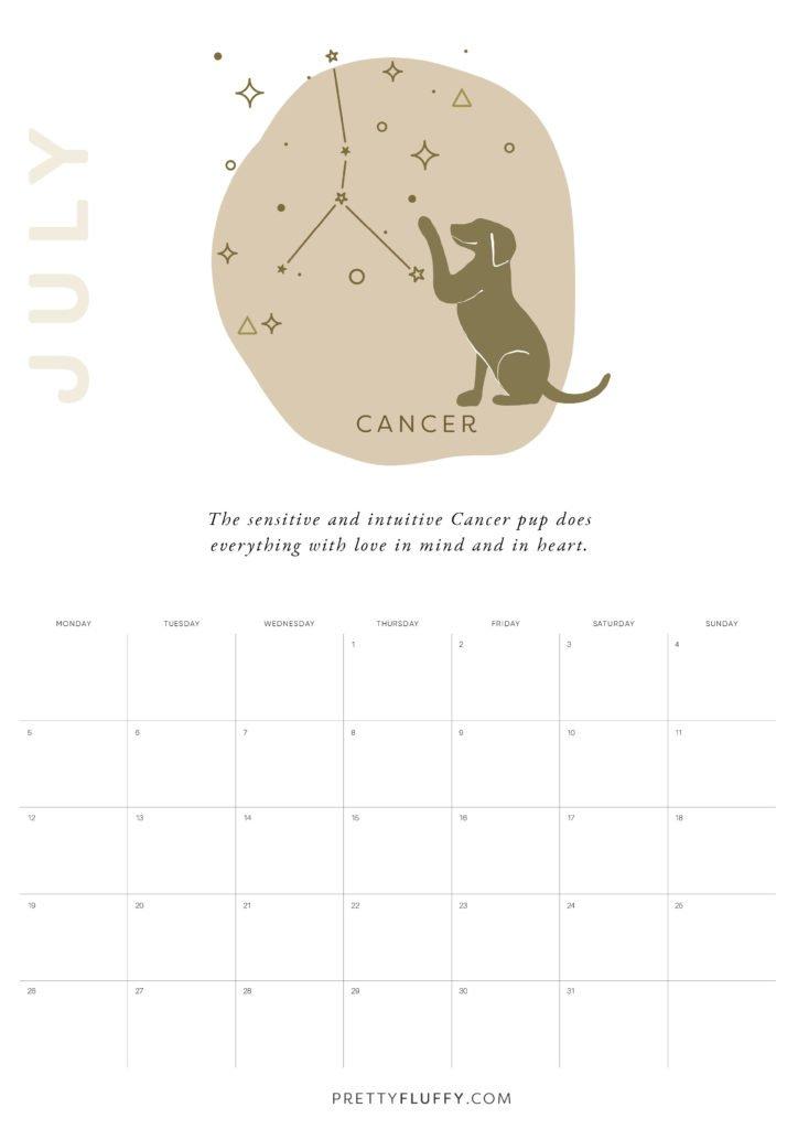 Dog Zodiac Free Printable Calendar for 2021_Cancer