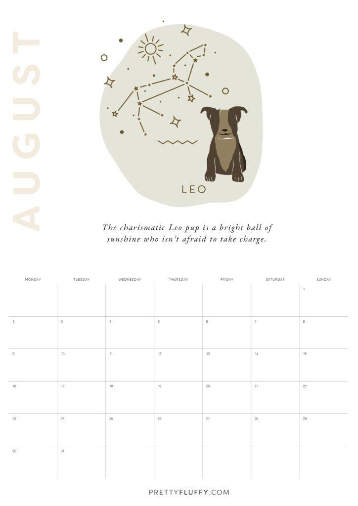 Dog Zodiac Free Printable Calendar for 2021_Leo