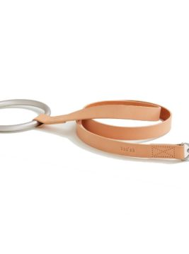 Pretty Fluffy Shop Dog Collars and Dog LeashesCircular Handle Leather Leash in Natural and Silver