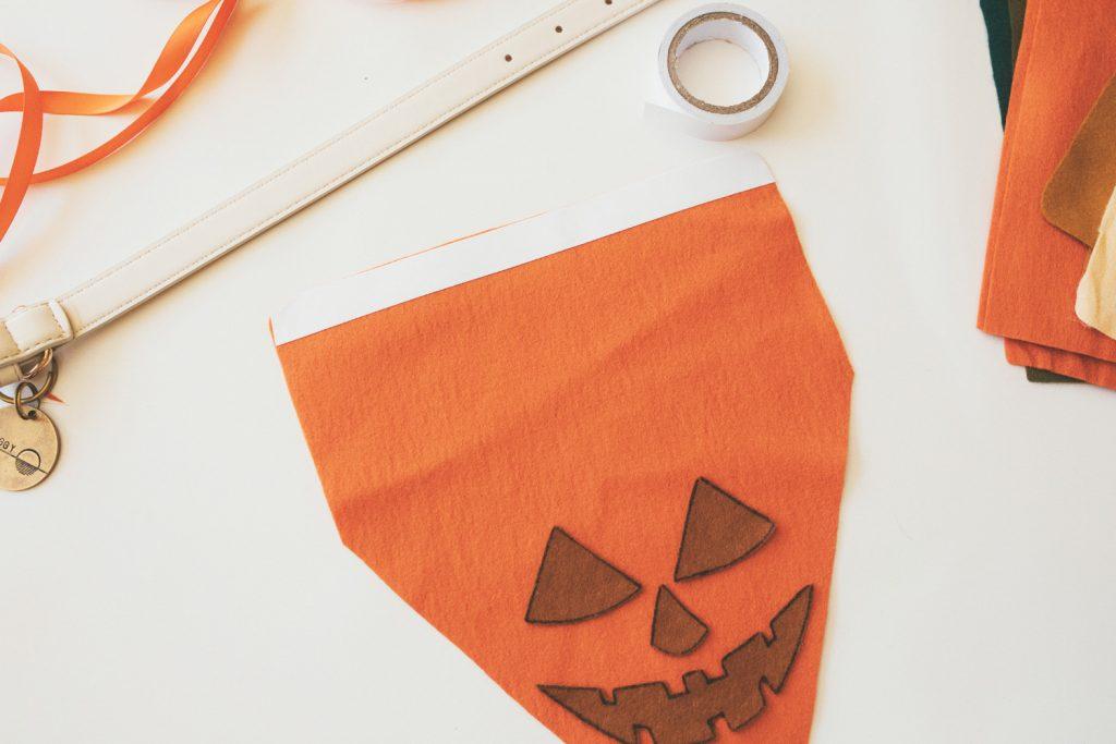 DIY No Sew Dog Pumpkin Mask & Bandana Set for Halloween